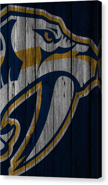 Nashville Predators Canvas Print - Nashville Predators Wood Fence by Joe Hamilton