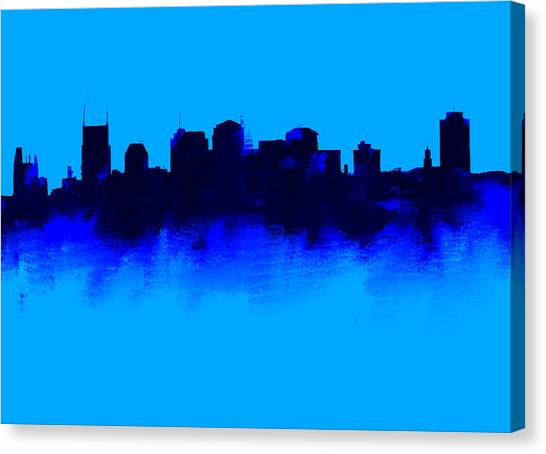 Ben Affleck Canvas Print - Nashville  Skyline Blue  by Enki Art