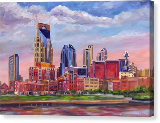 Nashville Canvas Print - Nashville Skyline Painting by Jeff Pittman