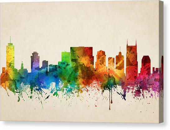 Nashville Skyline Canvas Print - Nashville Tennessee Skyline 05 by Aged Pixel