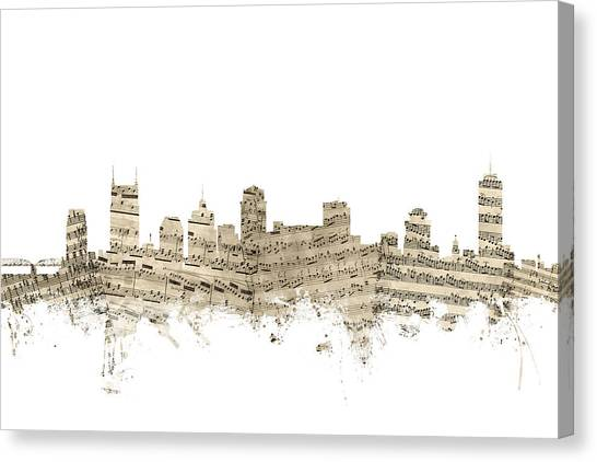 Nashville Canvas Print - Nashville Tennessee Skyline Sheet Music by Michael Tompsett