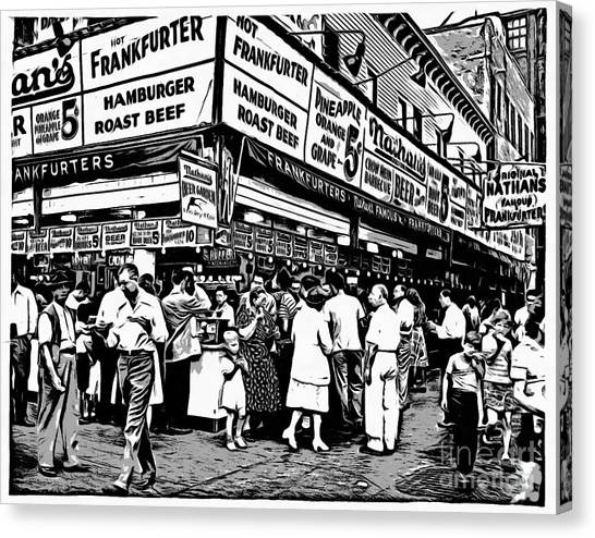 Hot Dogs Canvas Print - Nathans Famous Frankfurter Coney Island Ny by Edward Fielding