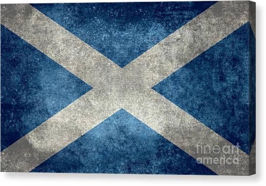 National Flag Of Scotland Vintage Version Canvas Print