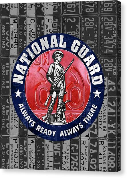 National Guard Canvas Print - National Guard United States Logo Recycled Vintage License Plate Art by Design Turnpike