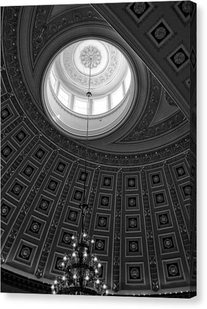 National Statuary Hall Ceiling In Black And White Canvas Print