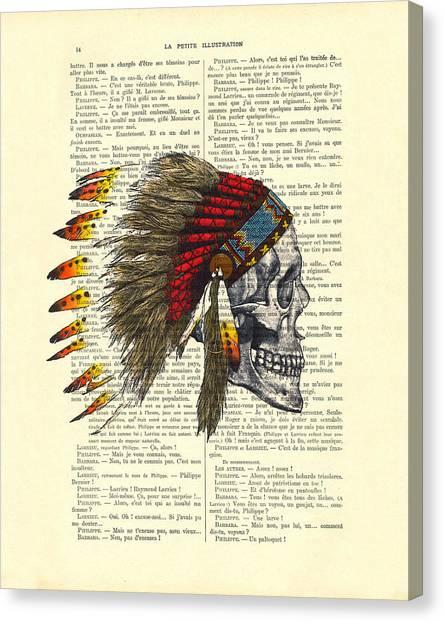 Skull Canvas Print - Native American Skull by Madame Memento