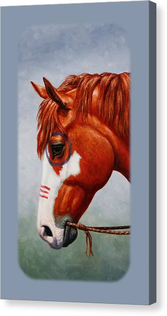 War Horse Canvas Print - Native American War Horse Phone Case by Crista Forest