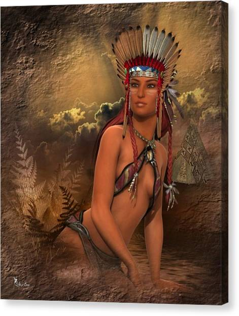 Native American Woman... Abedabun Canvas Print