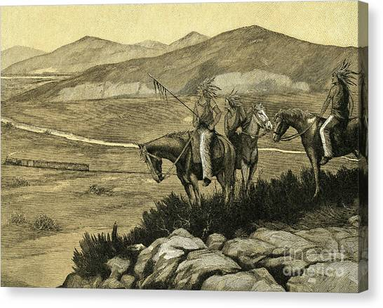 Vintage Railroad Canvas Print - Native Americans Watching A Locomotive Traverse The American West by American School