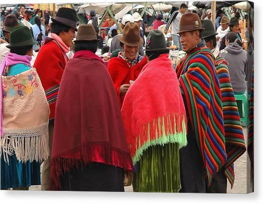 Native Ecuadorians At Market Canvas Print by Alan Lenk