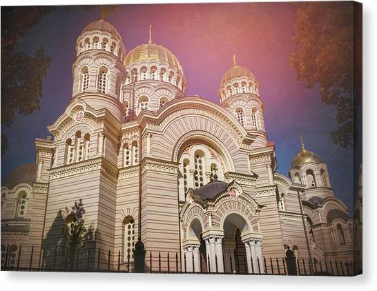 Byzantine Art Canvas Print - Nativity Cathedral Riga Latvia  by Carol Japp