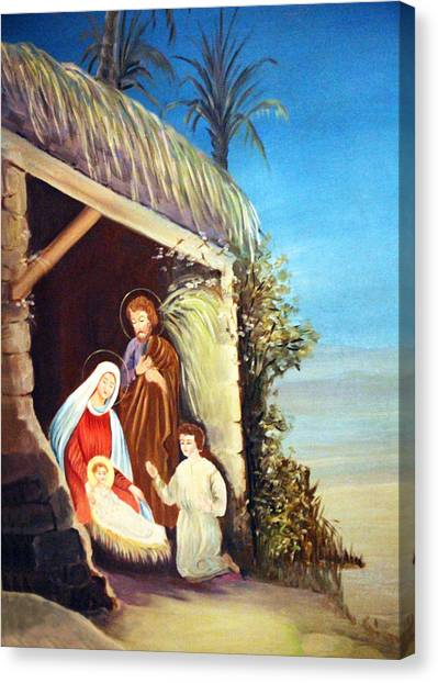 Coptic Art Canvas Print - Nativity In The Desert by Munir Alawi