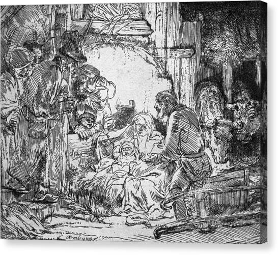 The Christ Ink Drawing Canvas Print - Nativity by Rembrandt
