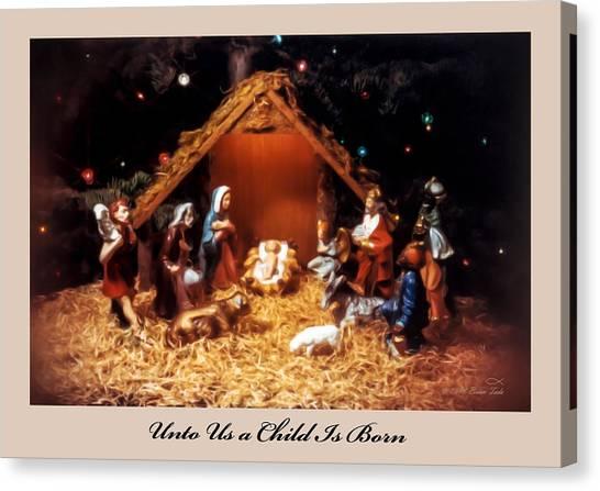 Nativity Scene Greeting Card Canvas Print