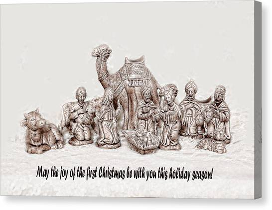 Nativity Scene In Sepia Canvas Print by Linda Phelps