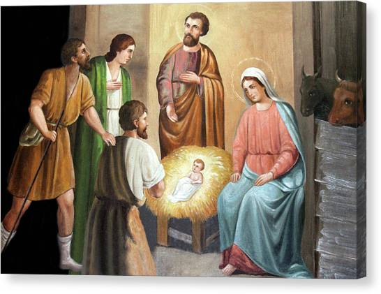 Palestinian Canvas Print - Nativity Scene Painting At Nativity Church by Munir Alawi