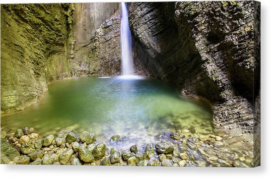Mountain Caves Canvas Print - Natural Sights, Kozjak Waterfall - Explore Slovenia by Nicola Simeoni