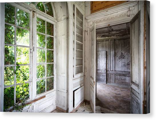 Abandoned House Canvas Print - Nature Closes The Window - Urban Decay by Dirk Ercken