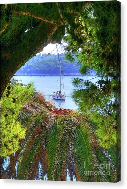 Nature Framed Boat Canvas Print