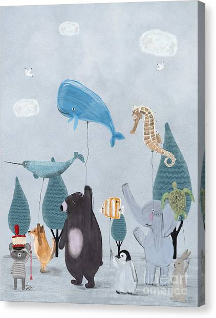 Blue Whales Canvas Print - Nature Parade by Bri Buckley