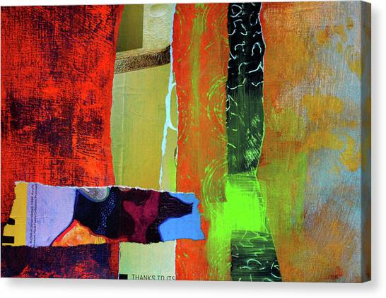 Torn Paper Collage Canvas Print - Natures Half Note by Nancy Merkle