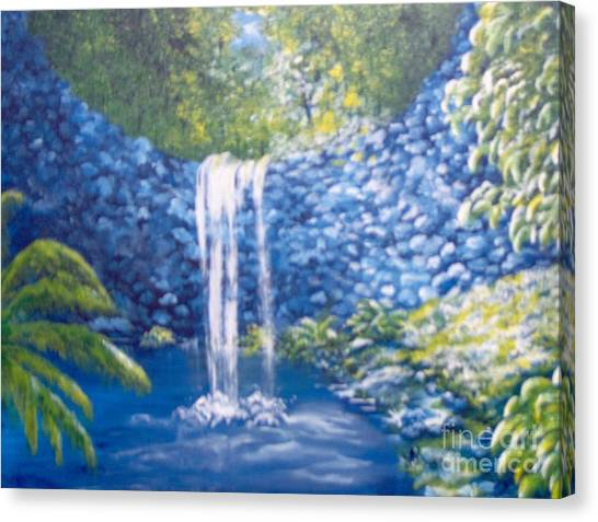 Canvas Print featuring the painting Nature's Pool by Saundra Johnson