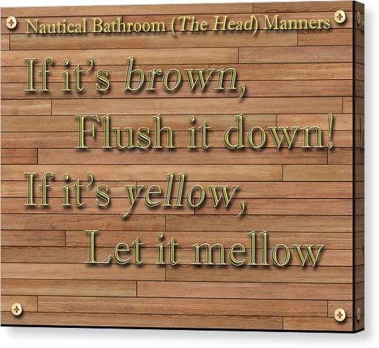 Instructions Canvas Print - Nautical Bathroom Humor by Jack Pumphrey