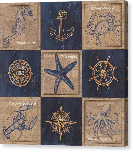 Octopus Canvas Print - Nautical Burlap by Debbie DeWitt