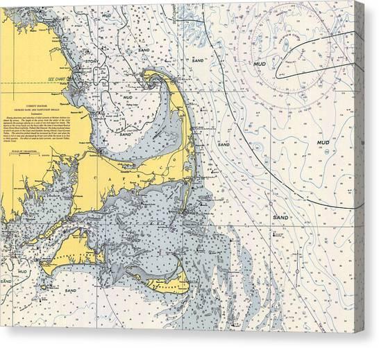 Nautical Chart Of Cape Cod 1945h Canvas Print