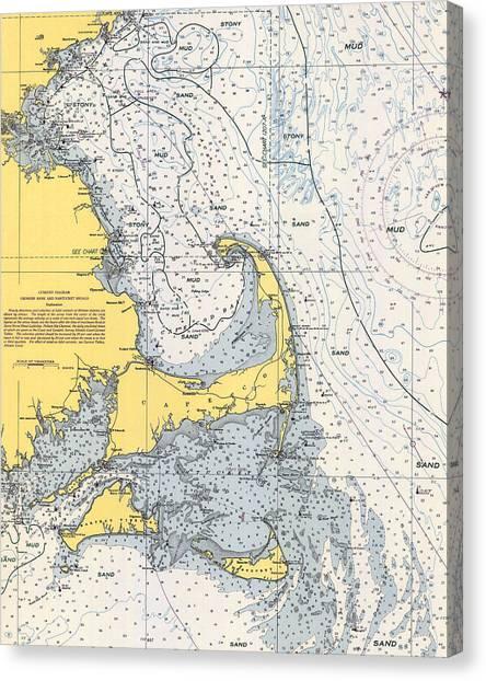Nautical Chart Of Cape Cod 1945v Canvas Print