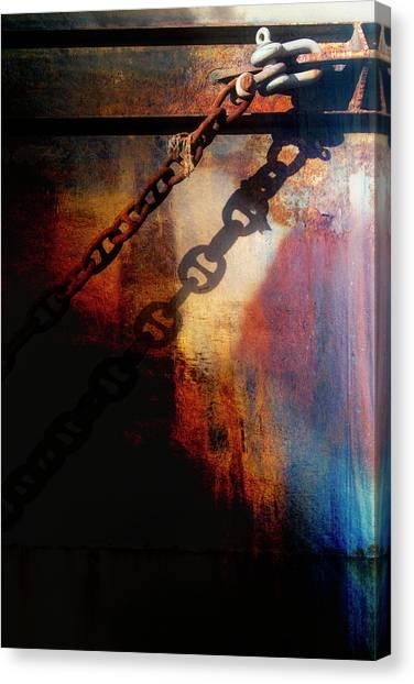 Chain Link Canvas Print - Nautical Industrial Art by Carol Leigh