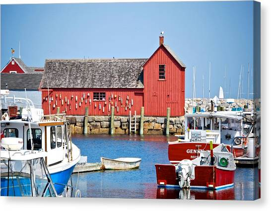 Nautical Rockport Days Canvas Print