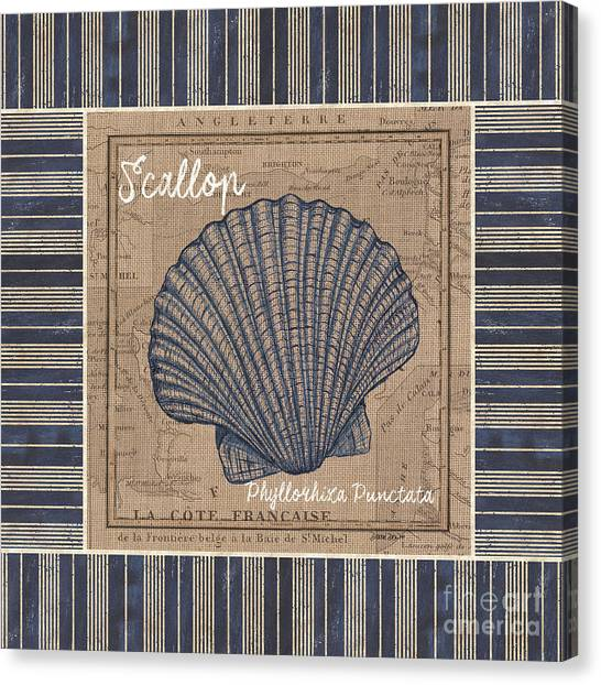 Aquariums Canvas Print - Nautical Stripes Scallop by Debbie DeWitt