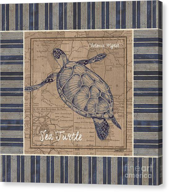 Aquariums Canvas Print - Nautical Stripes Sea Turtle by Debbie DeWitt