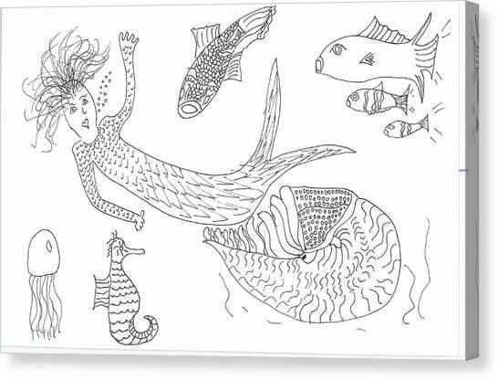 Nautilus And Hello Mermaid Canvas Print