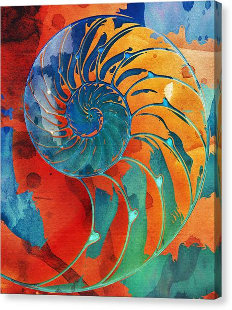 Nautilus Shell Orange Blue Green Canvas Print