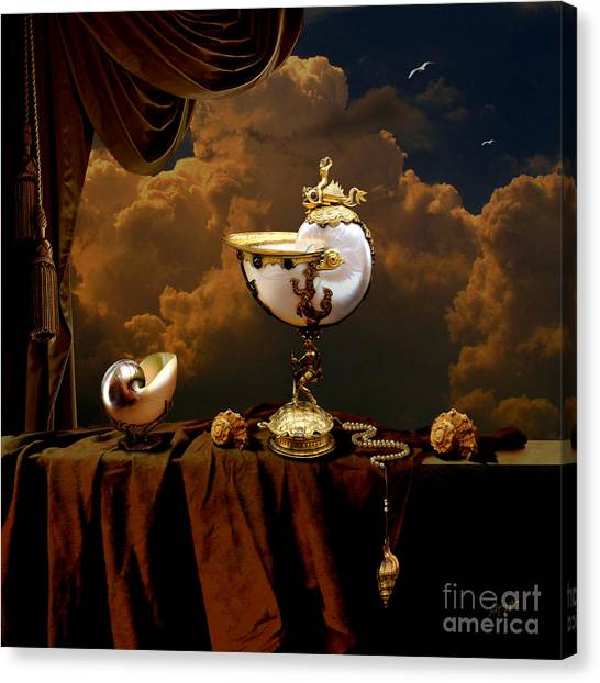 Canvas Print featuring the digital art Nautilus Cups by Alexa Szlavics