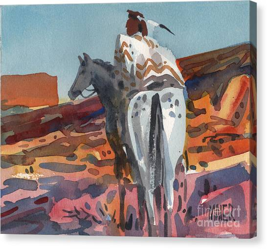 Navajo Rider Canvas Print by Donald Maier