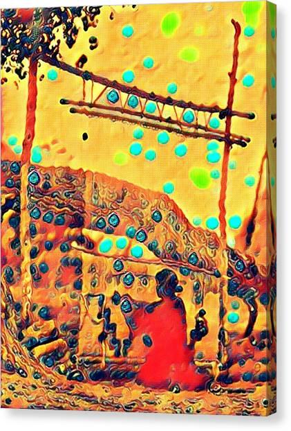 Navajo Woman Weaving 1 Canvas Print