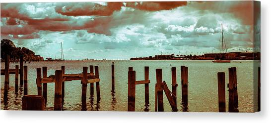 Canvas Print featuring the photograph Naval Academy Sailing School by T Brian Jones
