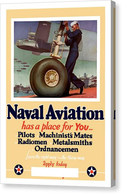 World War Ii Canvas Print - Naval Aviation Has A Place For You by War Is Hell Store