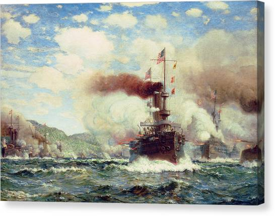 Navy Seal Canvas Print - Naval Battle Explosion by James Gale Tyler