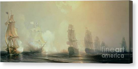 Engagement Canvas Print - Naval Battle In Chesapeake Bay by Jean Antoine Theodore Gudin