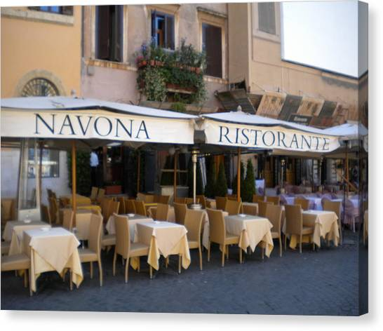 Navona Ristorante Canvas Print by Nancy Ferrier