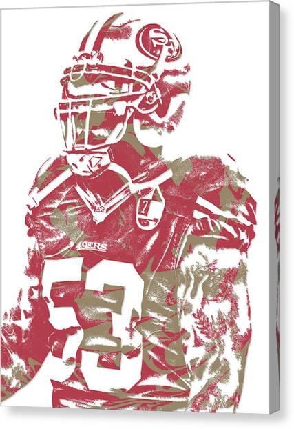 San Francisco 49ers Canvas Print - Navorro Bowman San Francisco 49ers Pixel Art 1 by Joe Hamilton