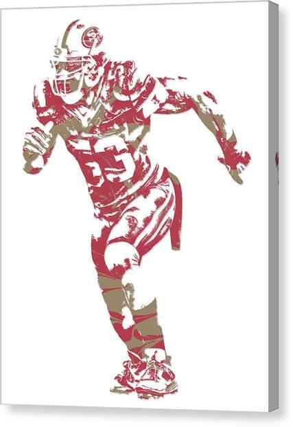 San Francisco 49ers Canvas Print - Navorro Bowman San Francisco 49ers Pixel Art 2 by Joe Hamilton