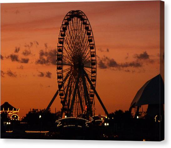 Navy Pier At Sunset Canvas Print by Jean Gugliuzza