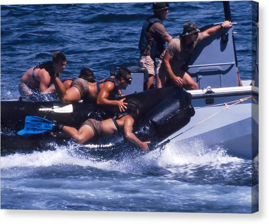 Navy Seal Canvas Print - Navy Seals Practice High Speed Boat by Michael Wood
