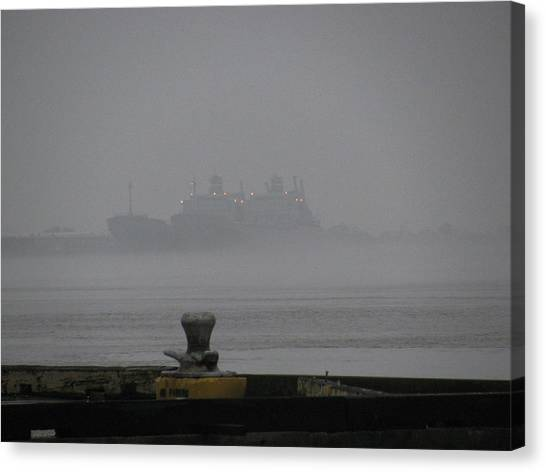 Navy Ships In The Fog Canvas Print by Tom Hefko