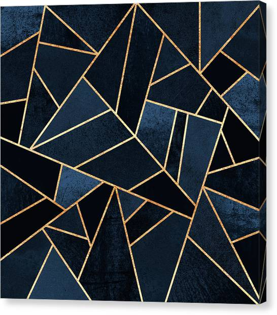 Geometry Canvas Print - Navy Stone by Elisabeth Fredriksson